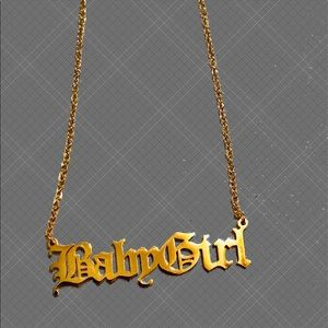 BabyGirl Old English Gold Stainless Steel Necklace